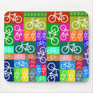 Patchwork Bicycles Art Mouse Pad