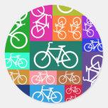 Patchwork Bicycles Art Round Sticker