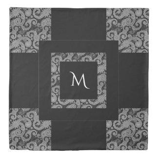 Patchwork Black Paisley Monogram Duvet Cover