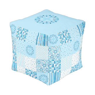 Patchwork Blue and White Square Ottoman