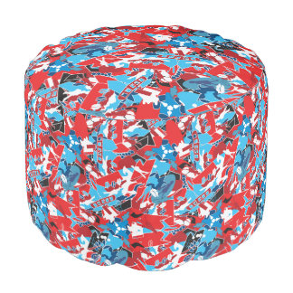 Patchwork bright pattern. Urban bright style Pouf