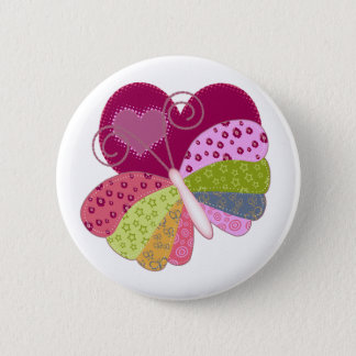 Patchwork Butterfly Heart 2 Inch Round Button