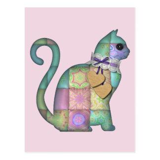 patchwork cat postcard