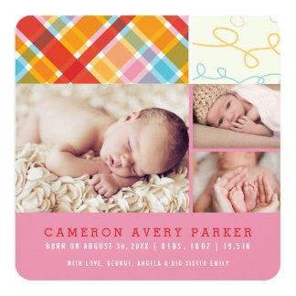 Patchwork Checks Baby Girl Birth Announcement Card