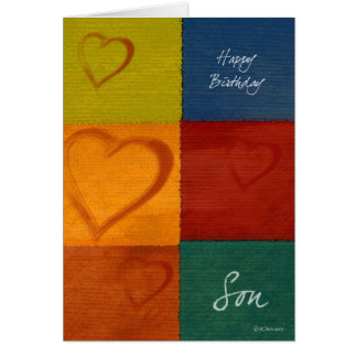 Patchwork Colours and Hearts Son's Birthday Card