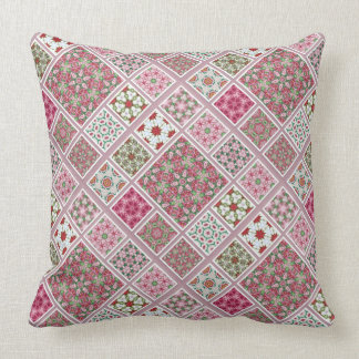 Patchwork Design in Pink and Red Throw Pillow