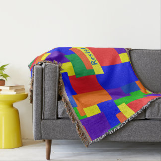 Patchwork Design Rainbow Resist Throw Blanket