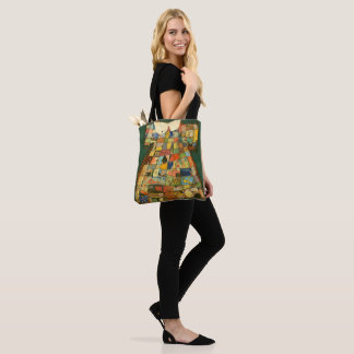 patchwork dress with old comics tote bag
