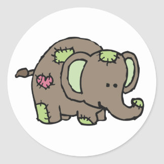 Patchwork Elephant Stickers - Green & Brown