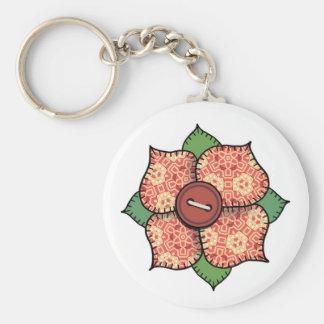 Patchwork Flower - 007 Basic Round Button Keychain