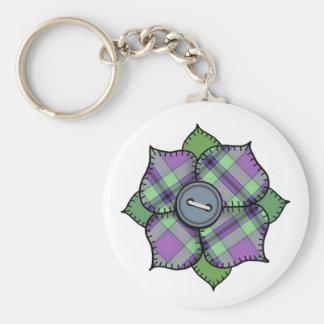 Patchwork Flower - 010 Basic Round Button Keychain