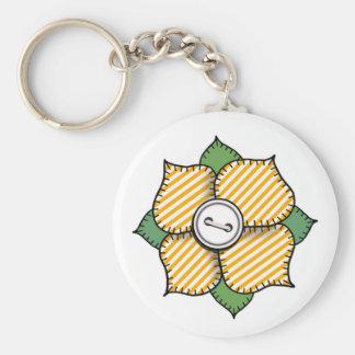 Patchwork Flower - 014 Basic Round Button Keychain