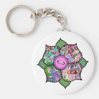 Patchwork Flower - 018 Basic Round Button Keychain