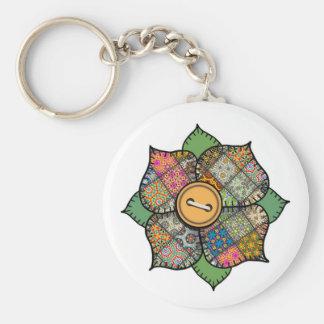 Patchwork Flower - 019 Basic Round Button Keychain
