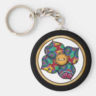 Patchwork Flower - 21 Basic Round Button Keychain