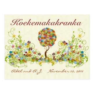 Patchwork Flower Love Tree Thank You Post Card