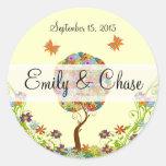 Patchwork Flower Love Tree Wedding Stickers
