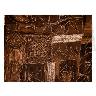 Patchwork, Flowers, Petals, Swirls - Brown Card