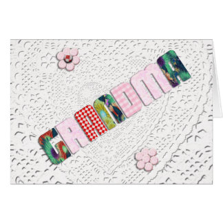 Patchwork 'Grandma' On Lace for Mother's Day Card