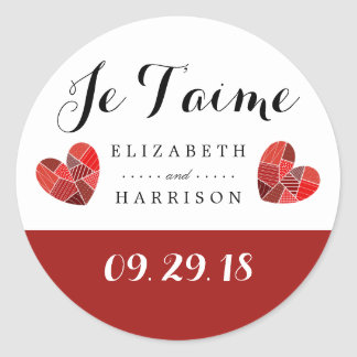 Patchwork Heart Je T'aime Wedding Classic Round Sticker