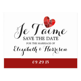 Patchwork Heart Je T'aime Wedding Save The Date Postcard