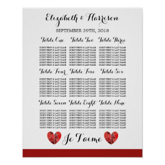 Patchwork Heart Je T'aime Wedding Seating Chart