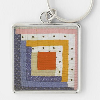 Patchwork Silver-Colored Square Keychain