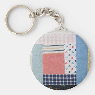 Patchwork Basic Round Button Keychain