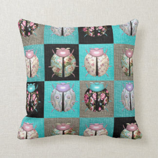 Patchwork ladybird throw pillow