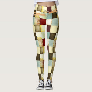 Patchwork Leggings with Silver Heart Buckle