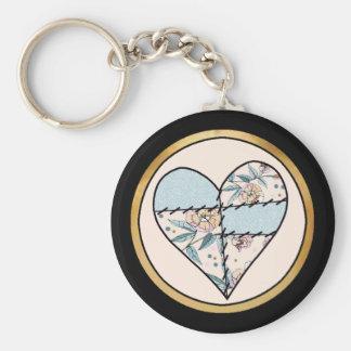 Patchwork LoveHeart Basic Round Button Keychain