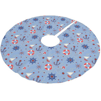 Patchwork Nautical Design Brushed Polyester Tree Skirt