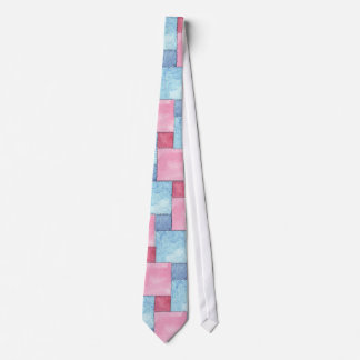 Patchwork Necktie, Pinks, Blues Tie