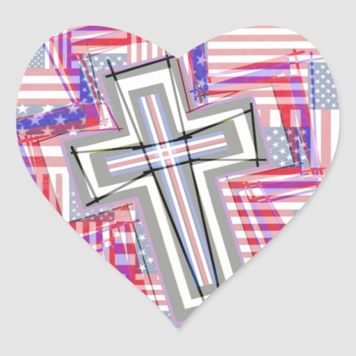 Patchwork of Crosses and Flags. Heart Stickers