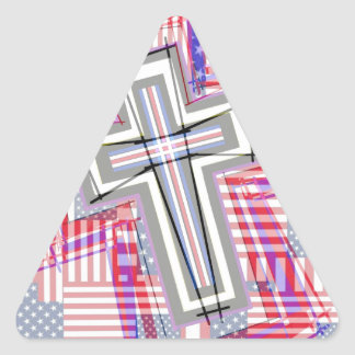 Patchwork of Crosses and Flags. Triangle Sticker
