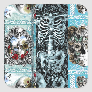Patchwork, ornate skull collage square sticker
