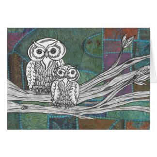 Patchwork Owls Card
