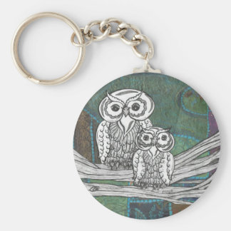 Patchwork Owls key chain