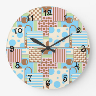 Patchwork Pattern Large Clock