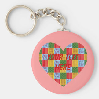 Patchwork Pattern Painting Heart Shaped Basic Round Button Keychain