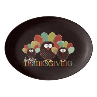 Patchwork Patterned Turkey Thanksgiving Family Porcelain Serving Platter