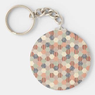 Patchwork Pentagon Pattern Basic Round Button Keychain