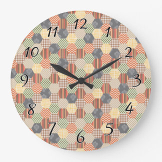 Patchwork Pentagon Pattern Large Clock