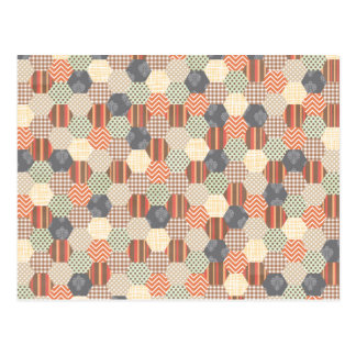 Patchwork Pentagon Pattern Postcard