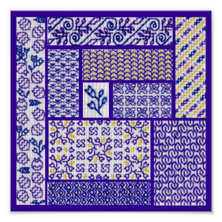 Patchwork Purple Poster