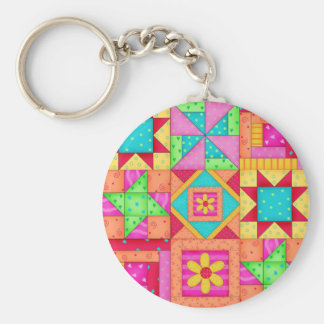 Patchwork Quilt Art Key Chain