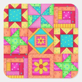 Patchwork Quilt Blocks Square Stickers