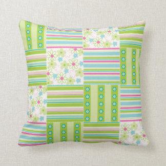 Patchwork Quilt Floral Flower Striped Green Pink Throw Pillow
