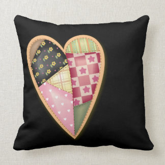 Patchwork Quilt Heart Throw Pillow