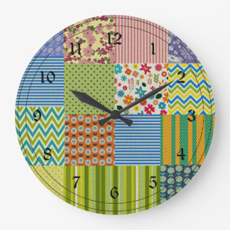 Patchwork Quilt Large Clock